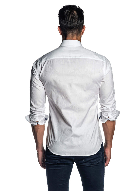 White Floral Jacquard Shirt for Men T-7118 - Back - Jared Lang