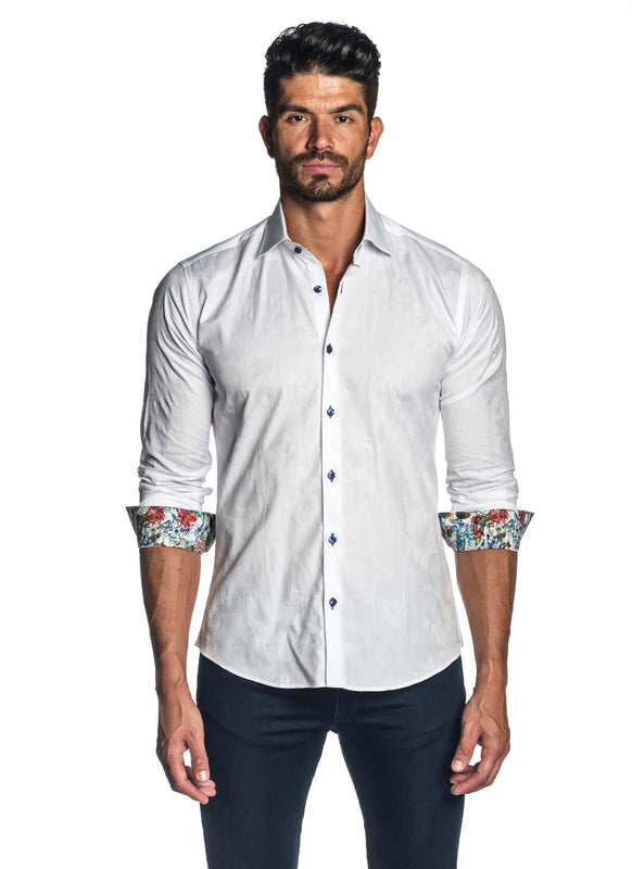 White Floral Jacquard Shirt for Men T-7118 - Front - Jared Lang