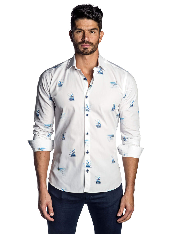White and Blue Sailboat Yachting Print Shirt for Men T-7123