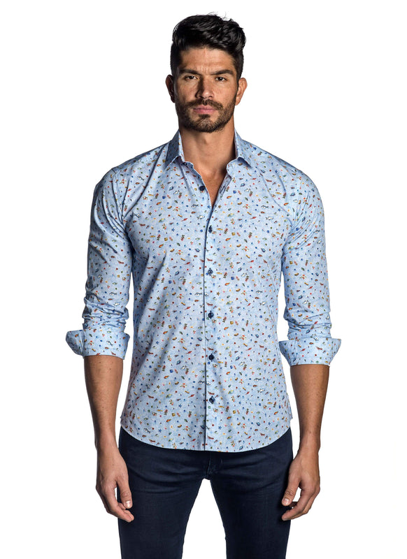 Sky Blue, Seashell and Fish Print Shirt for Men T-7143 - Front - Jared Lang