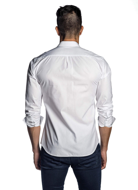 White Jacquard Shirt for Men T-8008 - Back - Jared Lang
