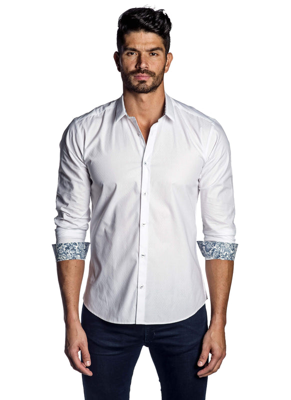 White Jacquard Shirt for Men T-8008 - Front - Jared Lang