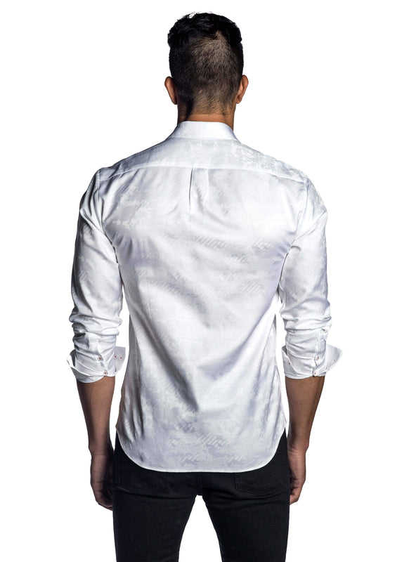 White Jacquard Shirt for Men - Back T-8072 - Jared Lang