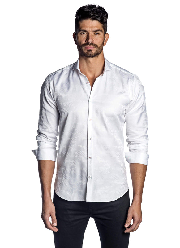 White Jacquard Shirt for Men - Front T-8072 - Jared Lang