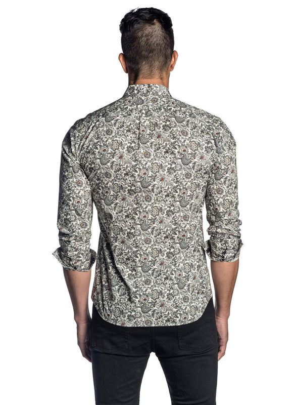 White Black Floral Shirt for Men T-8094 - Back - Jared Lang