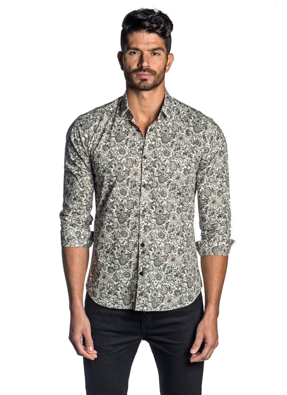 White Black Floral Shirt for Men T-8094 - Front - Jared Lang