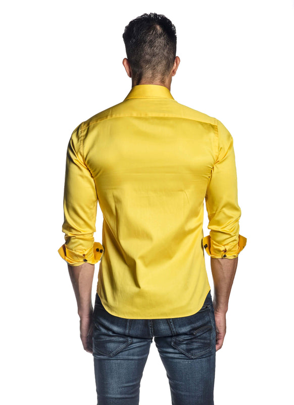Yellow Solid Shirt for Men T-8604 - Back - Jared Lang