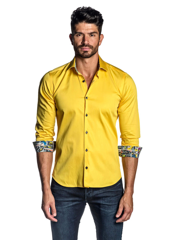 Yellow Solid Shirt for Men T-8604 - Front - Jared Lang