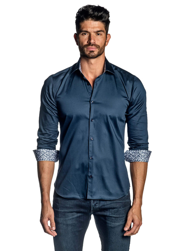 Navy Shirt for Men T-8606 - Front - Jared Lang