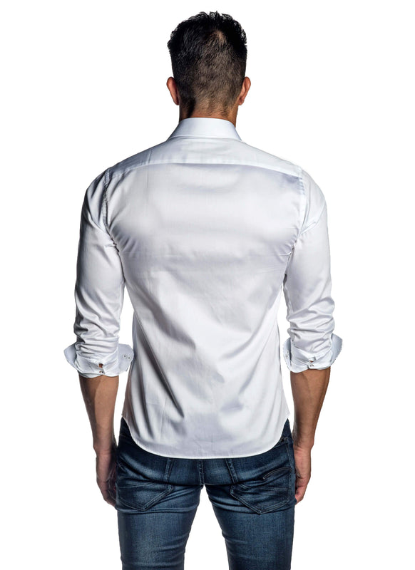 White Solid Shirt for Men T-8607 - Back - Jared Lang