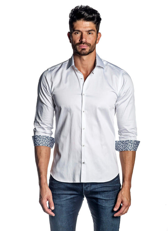 White Solid Shirt for Men T-8607 - Front - Jared Lang