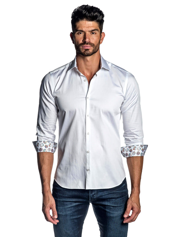White Solid Shirt for Men T-8608 - Front - Jared Lang