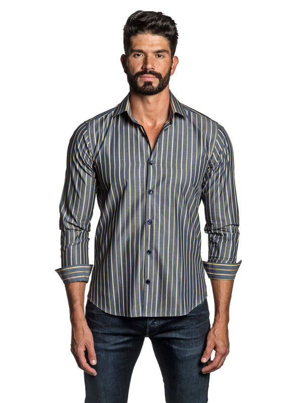 Navy Blue Yellow Stripe Shirt for Men T-8806 - Front - Jared Lang