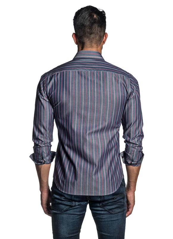 Blue and Red Stripe Shirt for Men T-8808 - Back - Jared Lang