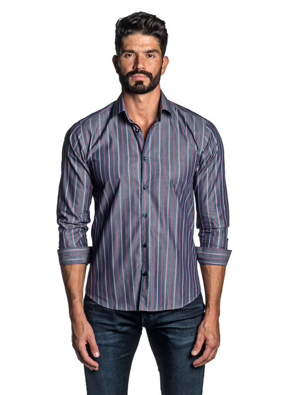 Blue and Red Stripe Shirt for Men T-8808 - Front - Jared Lang