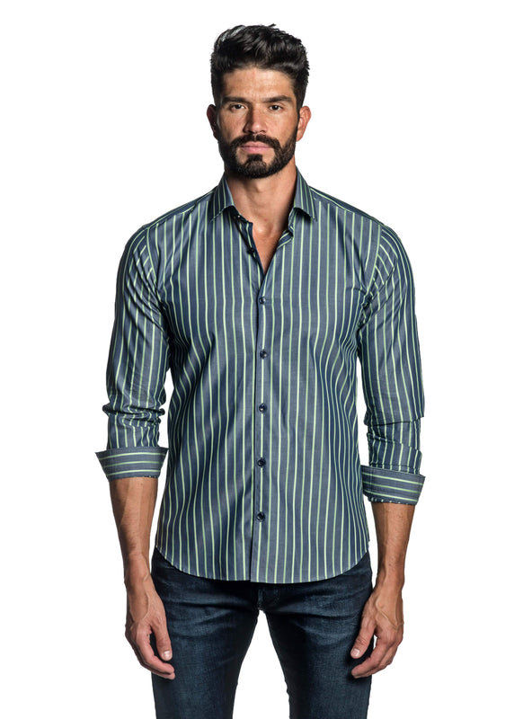 Blue and Green Stripe Shirt for Men T-8809 - Front - Jared Lang