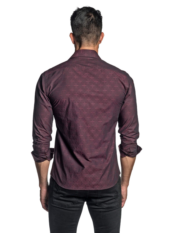 Burgundy Jacquard Shirt for Men T-8810 - Back - Jared Lang