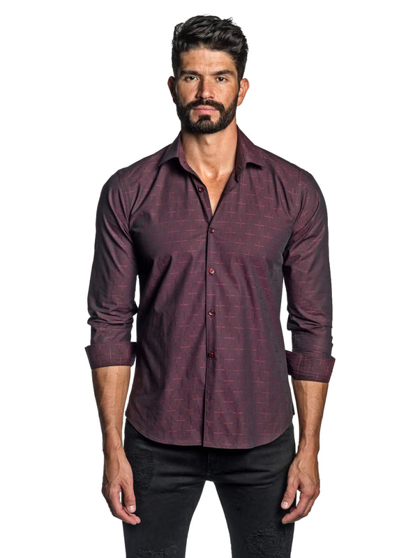 Burgundy Jacquard Shirt for Men T-8810 - Front - Jared Lang