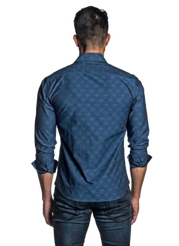 Navy Blue Jacquard Shirt for Men T-8811 - Back - Jared Lang