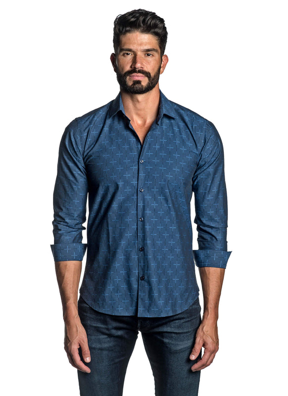 Navy Blue Jacquard Shirt for Men T-8811 - Front - Jared Lang
