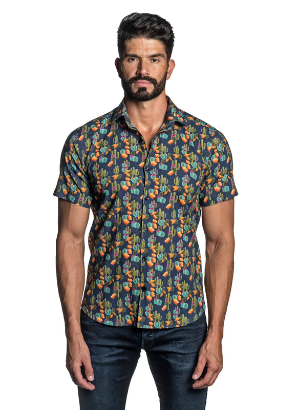 Navy Cactus Print Short Sleeve Shirt for Men T-8815-SS - Front - Jared Lang