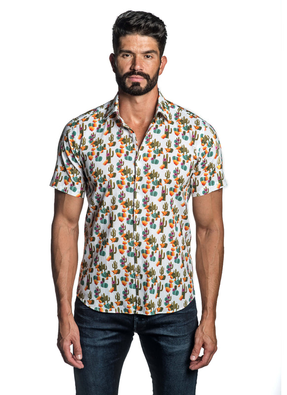 White Cactus Print Short Sleeve Shirt for Men T-8816-SS - Front - Jared Lang