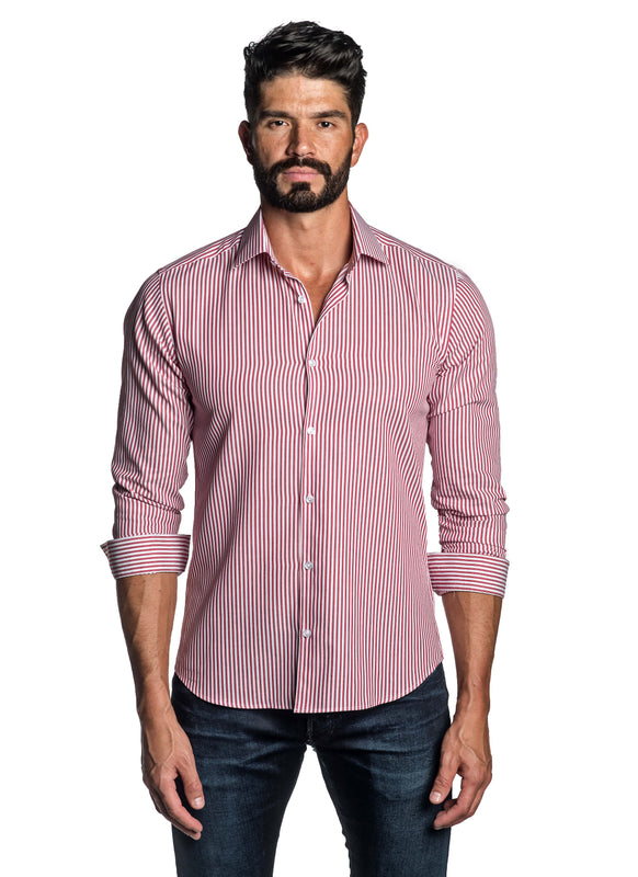Red Stripe Shirt for Men T-8818 - Front - Jared Lang