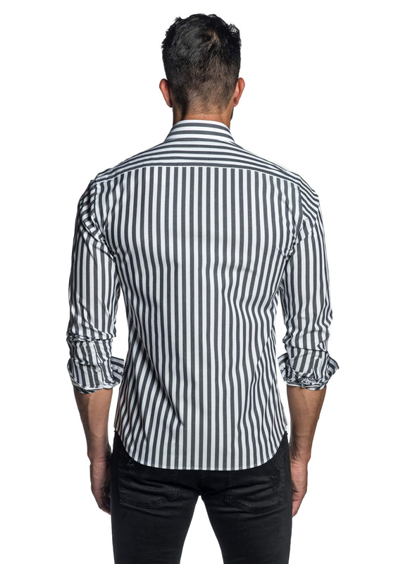 Dark Grey Stripe Shirt for Men T-8822 - Back - Jared Lang