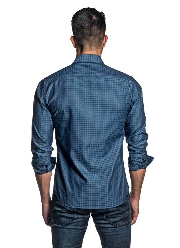 Blue Jacquard Shirt for Men T-8825 - Back - Jared Lang