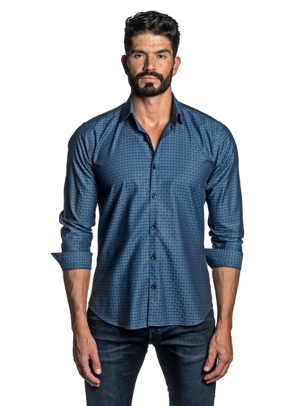 Blue Jacquard Shirt for Men T-8825 - Front - Jared Lang