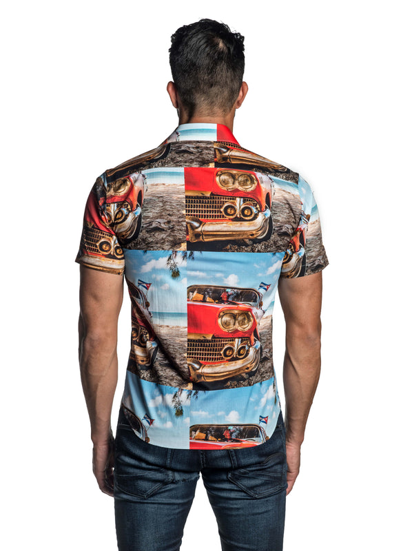 Retro Car Print Short Sleeve Shirt T-8839-SS - Back - Jared Lang