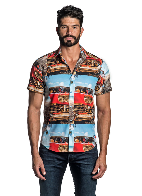 Retro Car Print Short Sleeve Shirt T-8839-SS - Front - Jared Lang