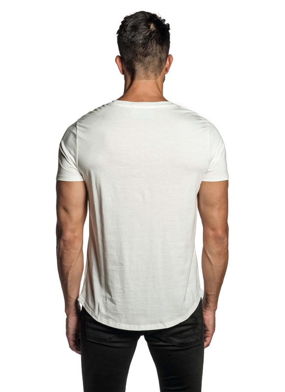 White with Star Pima Cotton T-Shirt for Men TEE-59 - Back - Jared Lang