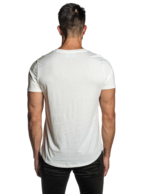 White with Lightning Pima Cotton T-Shirt for Men TEE-69 - Back - Jared Lang