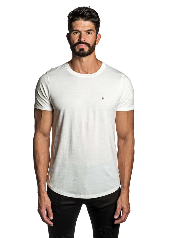 White with Lightning Pima Cotton T-Shirt for Men TEE-69 - Front - Jared Lang