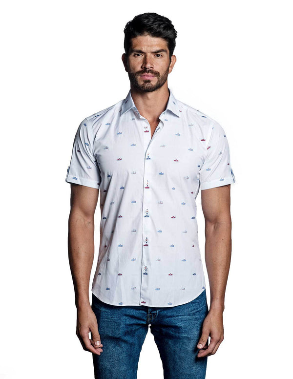 White Multicolor Embroidered Shoes Short Sleeve Shirt for Men TS-4400-SS - Jared Lang