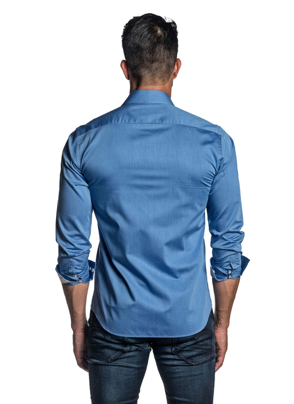 Baby Blue Jacquard Shirt for Men TW-2660 - Back - Jared Lang