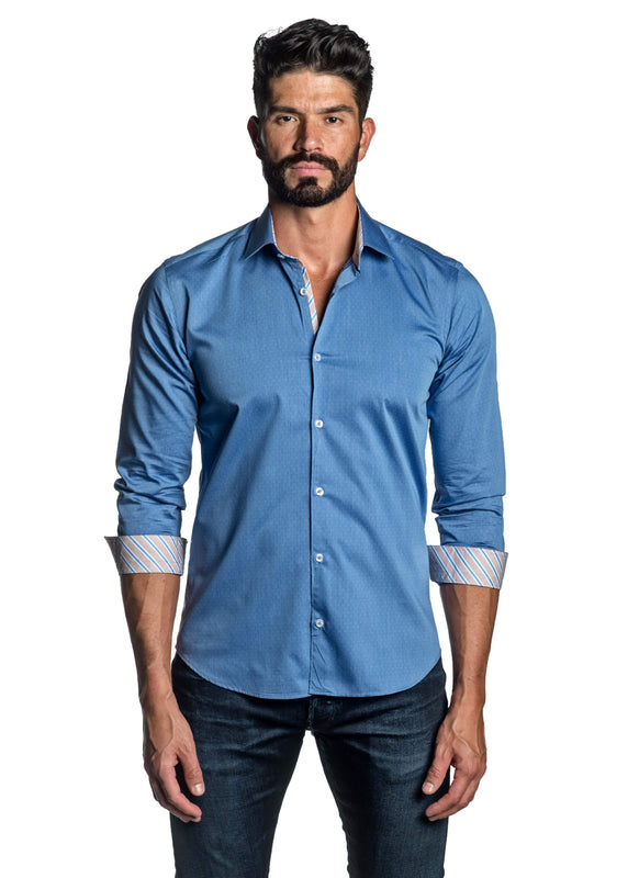 Baby Blue Jacquard Shirt for Men TW-2660 - Front - Jared Lang