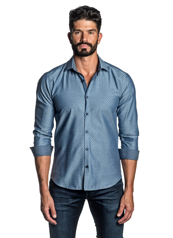 Blue Dobby Jacquard Shirt for Men TW-2668 - Front - Jared Lang