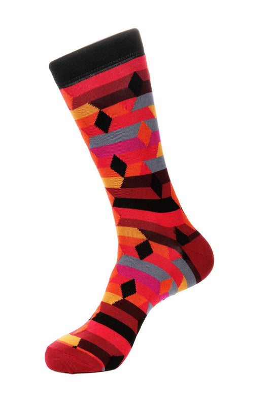 Red Black Mercerized Socks for Men JL-11010-5 - Jared Lang