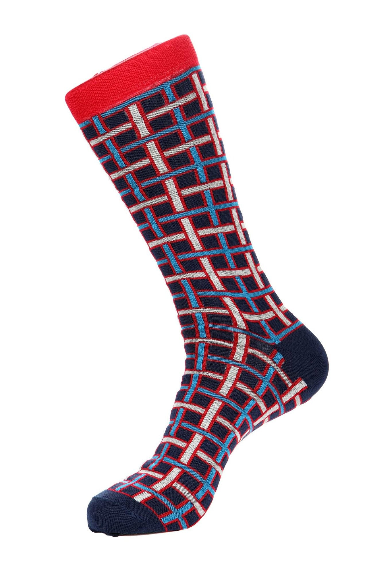 Red White Blue Mercerized Socks for Men JL-11015-1 - Jared Lang
