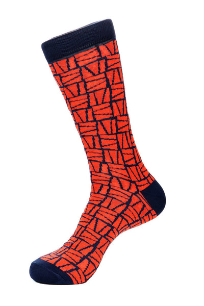 Orange Mercerized Socks for Men JL-11025-4 - Jared Lang