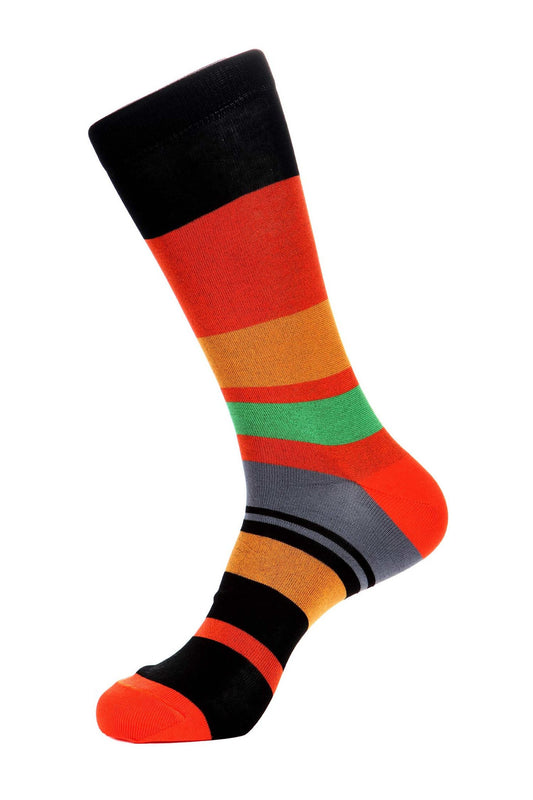 Orange Black Mercerized Socks for Men JL-11050-4 - Jared Lang