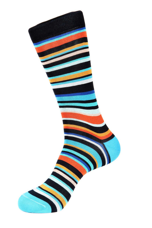 Turquoise Navy Orange Mercerized Socks for Men JL-11051-1 - Jared Lang
