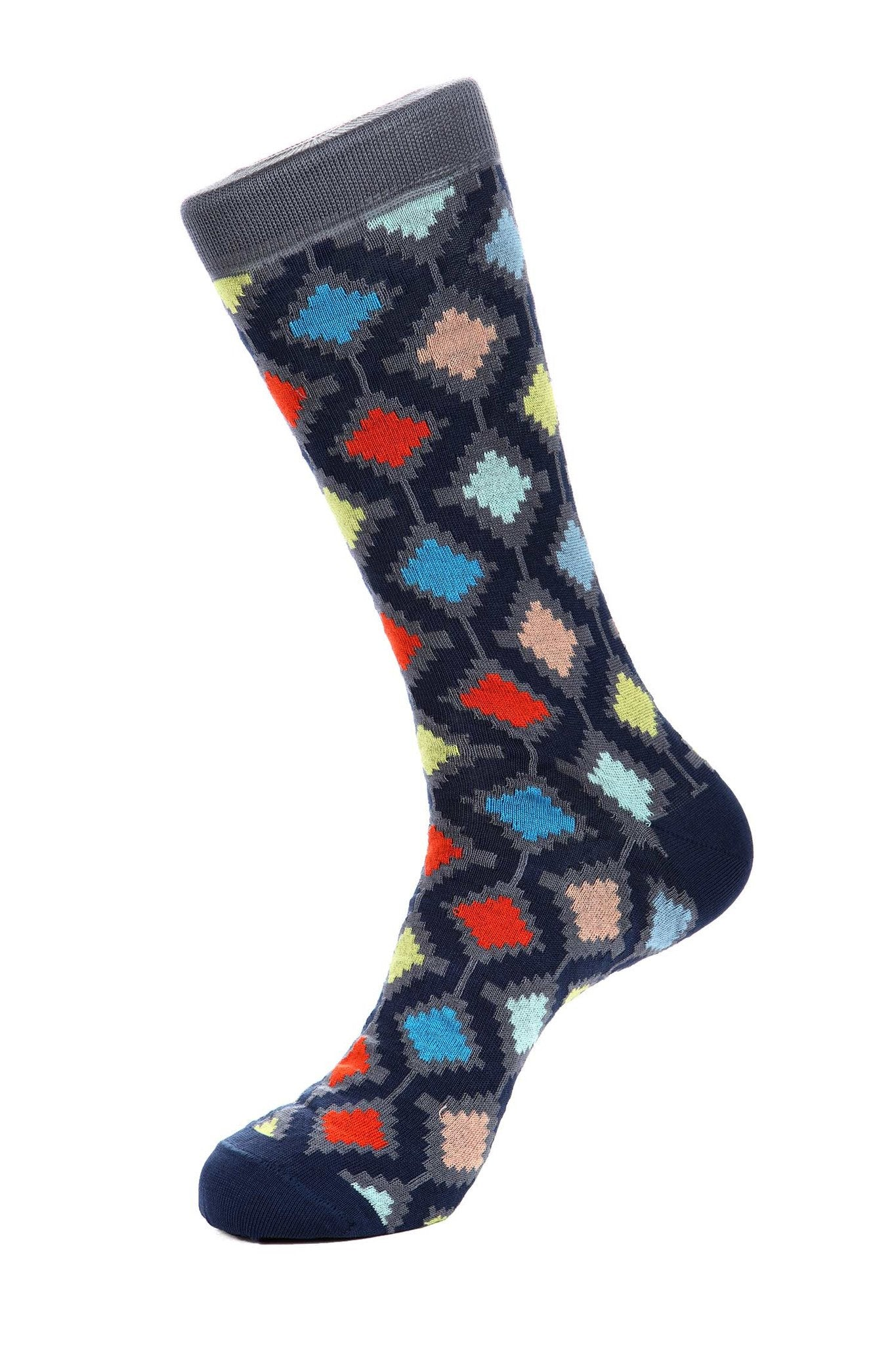 Navy Mercerized Socks for Men JL-11064-1 - Jared Lang