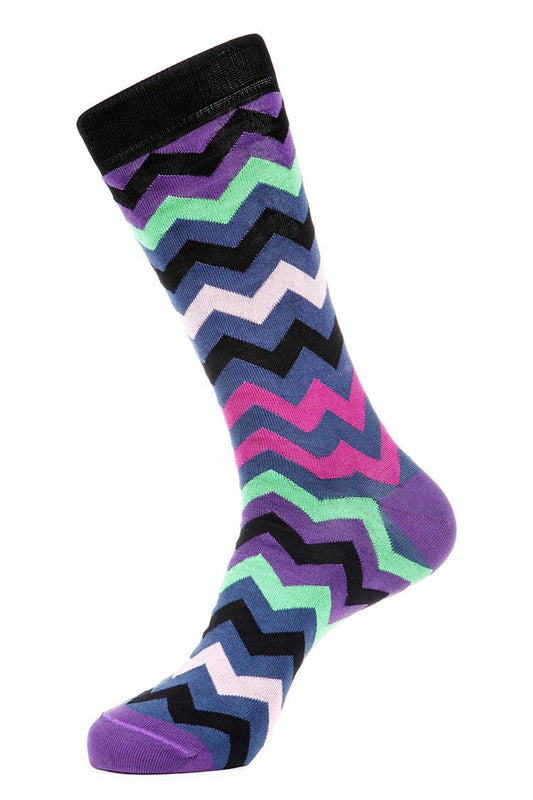 Purple Black Mercerized Socks for Men JL-7011-4 - Jared Lang