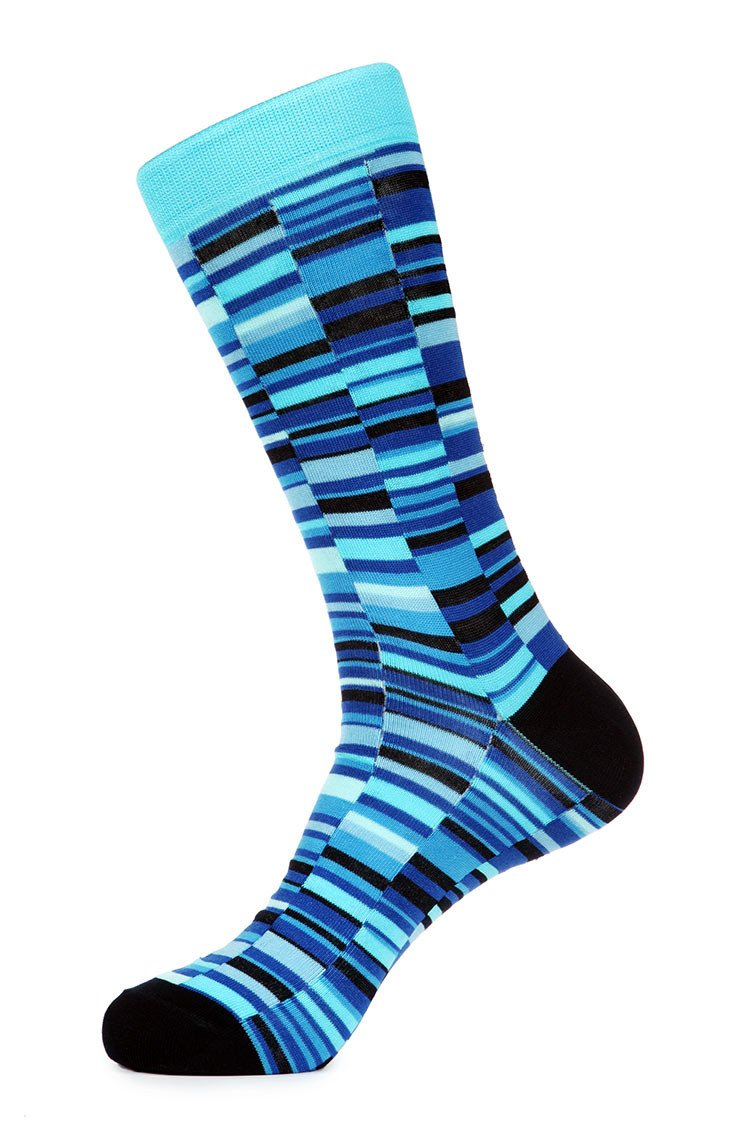 Triple Blue Mercerized Socks for Men JL-7014-4 - Jared Lang