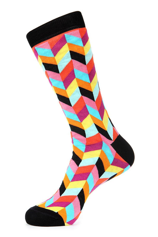 Pink Black Mercerized Socks for Men JL-7020-1 - Jared Lang
