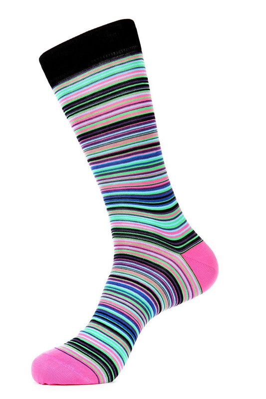 Pink Stripe Mercerized Socks for Men JL-7024-4 - Jared Lang