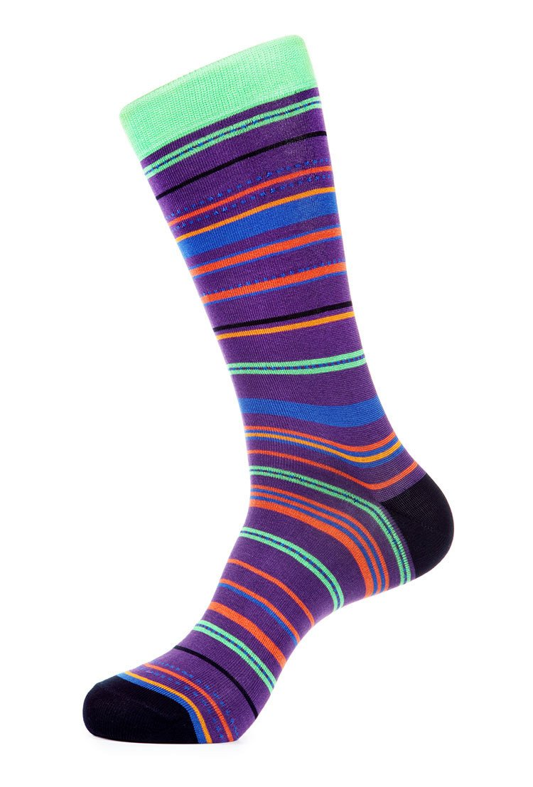 Purple Green Mercerized Socks for Men JL-7027-3 - Jared Lang